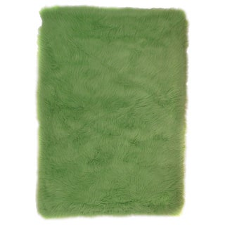 Lime Green Polyester Area Area Rug (3'2 x 4'8)