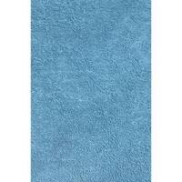 Shag Light Blue Chenille Cotton Area Area Rug (3'2 x 4'8)