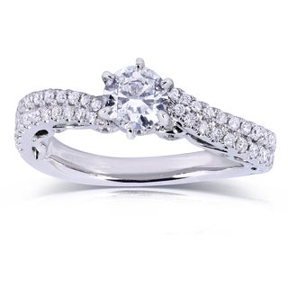 Annello by Kobelli 14k White Gold 7/8ct TDW Round Diamond Engagement Ring