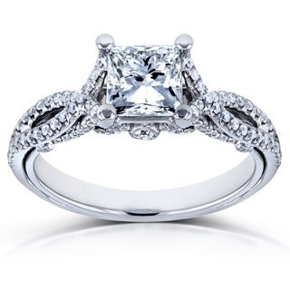 Annello 14k White Gold 1 1/3ct TDW Princess-Cut Diamond Engagement Ring