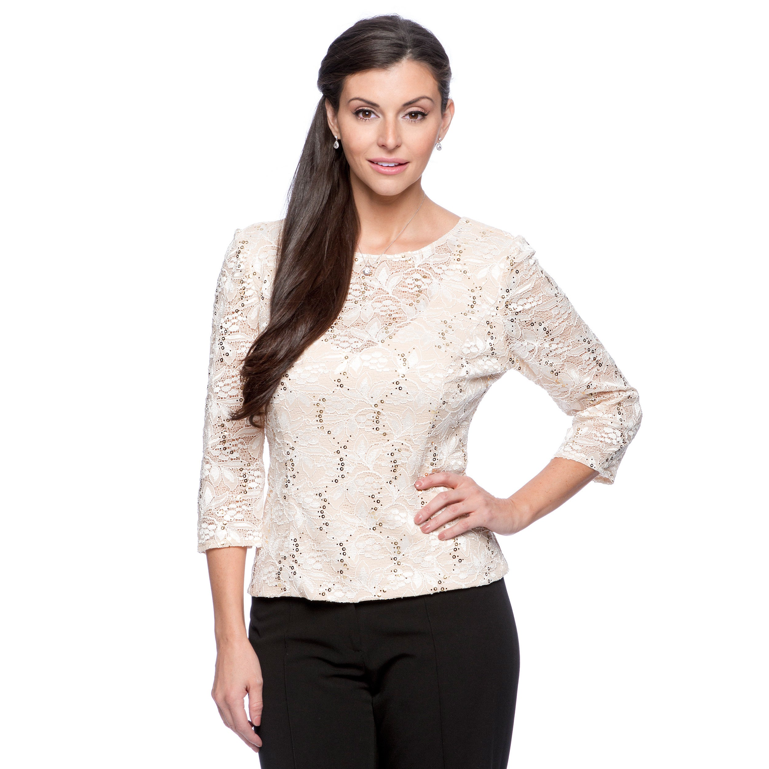 Alex Evenings Womens Cameo Stretch Lace Blouse   Shopping