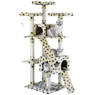 Go Pet Club 72-inch Faux Fur Paw Print Cat Tree