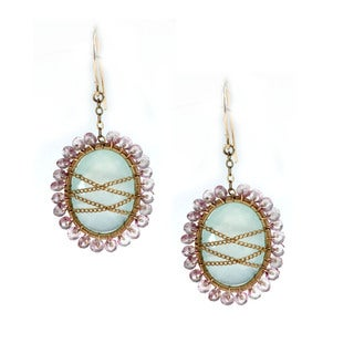 Michael Valitutti One-of-a-kind Sterling Silver Chalcedony and Pink Tourmaline Earrings