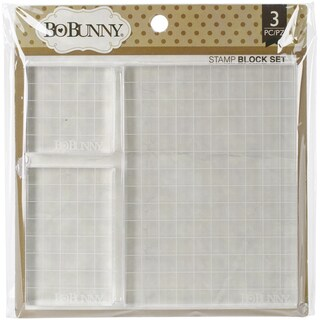 "BoBunny Acrylic Stamp Blocks 3/Pkg-2""x2"", 2""x3.25"" & 4""x5.5"""