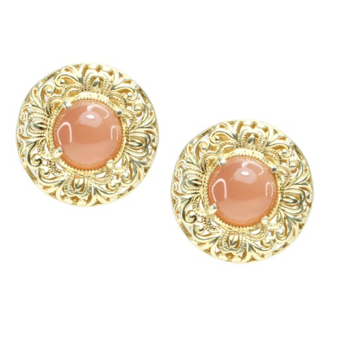 Dallas Prince Peach Moonstone Filigree Stud Earrings