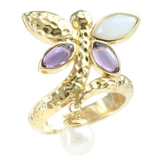 Michael Valitutti Gold Over Silver Amethyst, Pearl & Chalcedony Ring (6mm)