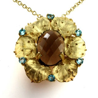 Michael Valitutti Sterling Silver Vermeil Textured Smokey Quartz and Swiss Blue Topaz Flower Necklace