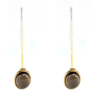 Michael Valitutti One-of-a-kind Sterling Silver Cbachon Smokey Quartz Earrings