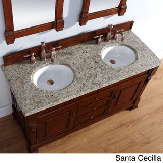 "Brookfield 60"" Double Cabinet, Warm Cherry (Option: 2cm santa cecilia granite top)"