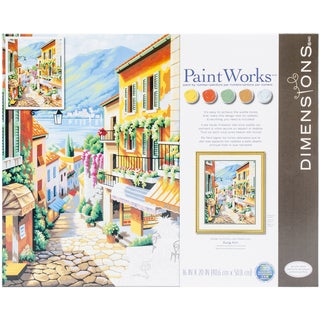 """Paint By Number Kit 20""""X16""""-Village Steps"""