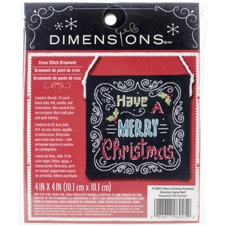 """Merry Christmas Ornament Counted Cross Stitch Kit-4""""X4"""" 14 Count"""