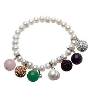 Pearl and Crystal Charm Interchangeable Bracelet Box Set - White
