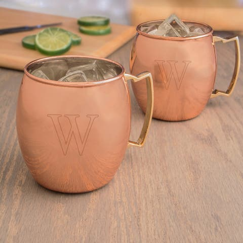 Personalized Moscow Mule Copper Mug with Unique Handle (Set of 2)