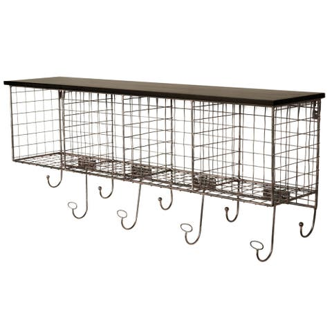 Linon 30-inch Black Wire 4-cubby Wall Shelf and Hangers