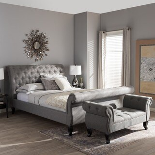Baxton Studio Yost Grey Modern Bed with Grey Bench