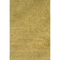 Shag Yellow Chenille Cotton Area Area Rug - 4'2 x 6'5