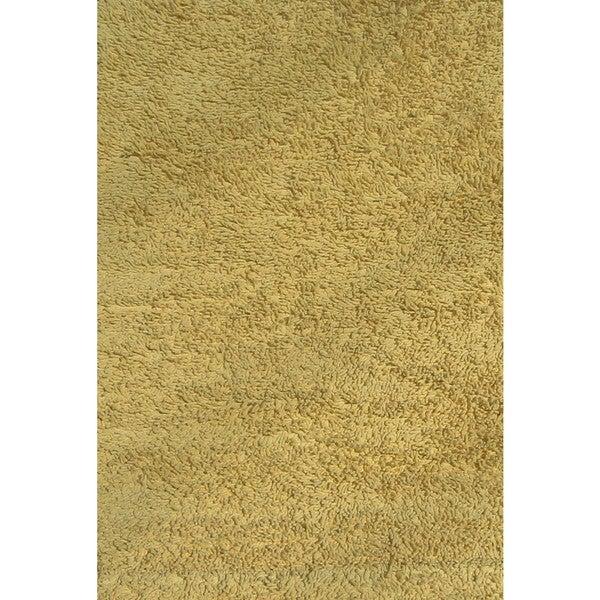 """Shag Yellow Chenille Cotton Area Area Rug - 4'2"""" x 6'5"""""""