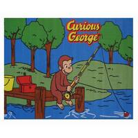 Curious George Fishing Blue Nylon Area Rug - Blue/Brown/Green/Red/Yellow