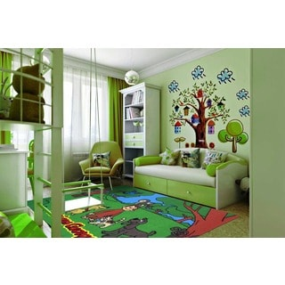 Curious George Green Nylon Area Area Rug (1'6 x 2'4)