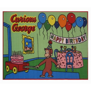 Curious George Light Green Nylon Area Area Rug (1'6 x 2'4)