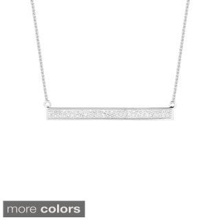 14k Gold 0.25ct TDW Diamond Two Row Trapeze Bar Necklace