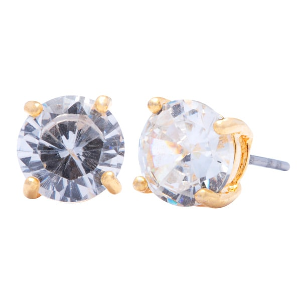 Sterling Silver CZ Cubic Zirconia /& Crystal Front and Back Earrings 7.9mm x 7.9mm
