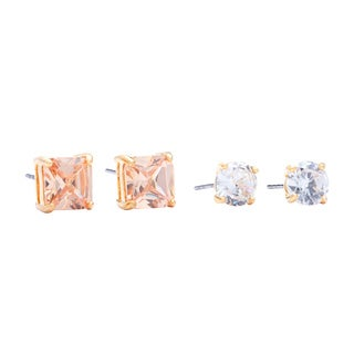 Goldtone Champagne and Clear Crystal Duo Earring Set