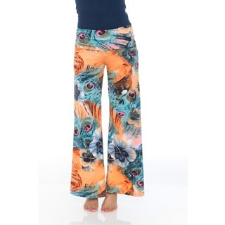 White Mark Women's Orange and Teal Peacock Print Palazzo Pants