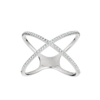 Sterling Silver 1/4ct TDW Diamond 'X' Ring (G-H, I1)