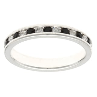 Silvertone Jet Eternity Band Ring