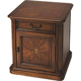 Side Table/Cabinet with Handcrafted Wood Inlay - Wood Burl