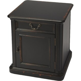 Handmade End Table/Cabinet with Wood Inlay - Midnight Rose (China)