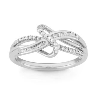 Unending Love Sterling Silver 1/4ct TDW Diamond Ribbon Ring