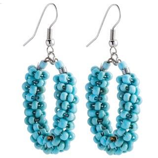 Kele & Co Turquoise Glass Bead Dangle Earrings