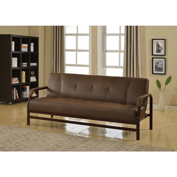 madeline checkered brown futon madeline checkered brown futon   free shipping today   overstock      rh   overstock