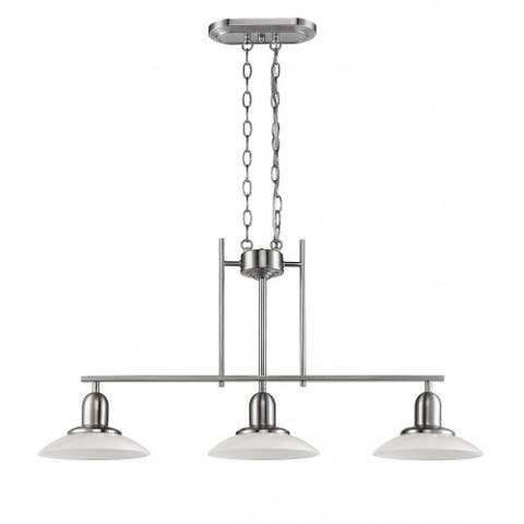 Contemporary Brushed Nickel 3-light Island/Pool Table Light
