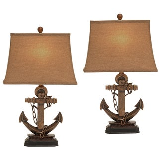 Cape Cod Anchor 27-Inch Nautical Table Lamp (Set of 2)