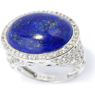 Sterling Silver 2.77ct TGW Lapis and White Topaz East-west Ring