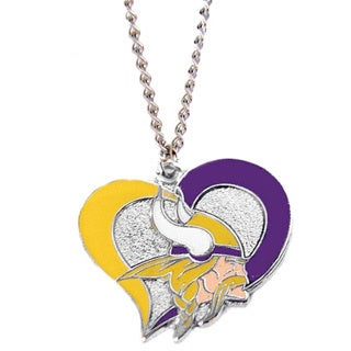 NFL Minnesota Vikings Logo Swirl Heart Necklace Charm Gift Set
