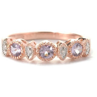 SS/ 18k Rose Vermeil 0.36ct TW Lavender Spinel/ Diamond Accent Stack Ring