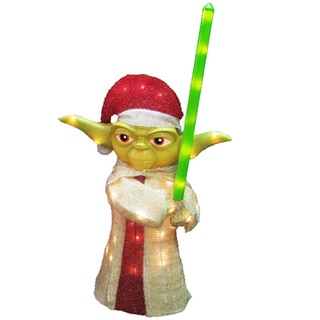 Kurt Adler UL 50-light 28-inch 3D Tinsel Yoda Lawn Decor