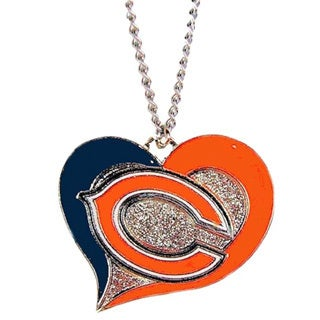 NFL Sports Team Logo Swirl Heart Necklace Charm Gift Set (More options available)