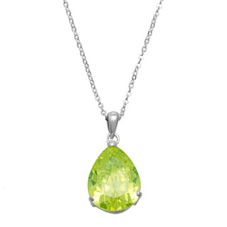 Silvertone Brass Lime Cubic Zirconia Necklace