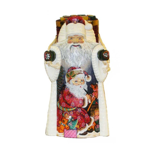 Kurt Adler 11.5-inch Czar Treasures Wooden Santa with Backpack