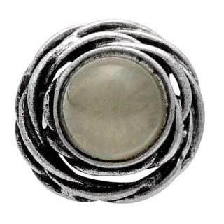Silvertone Grey Accent Stone Ring