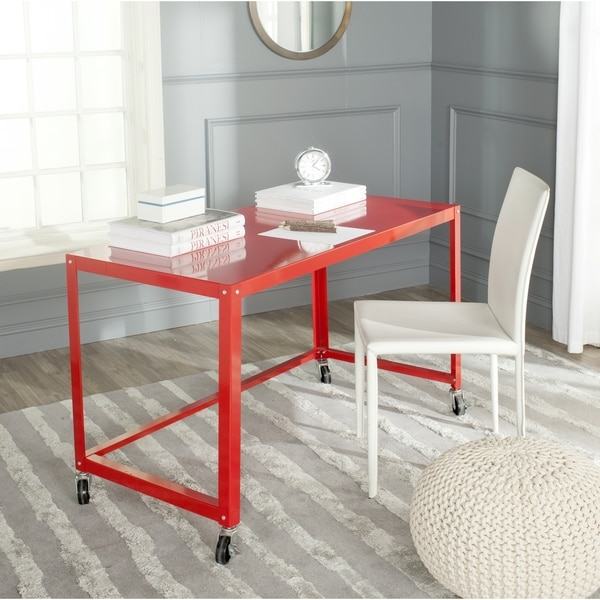 shop safavieh bentley modern wheeled red desk on sale free