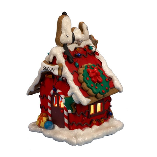 Kurt Adler 9.84-inch Snoopy Gingerbread C7 Lighted House