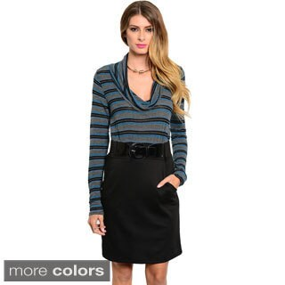 Stanzino Women's Two-tone Striped Cowl Neck Casual Dress