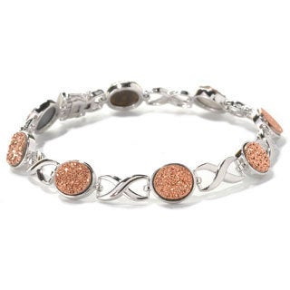 Sterling Silver 13.34ct TW Drusy 'X and O' Link Bracelet