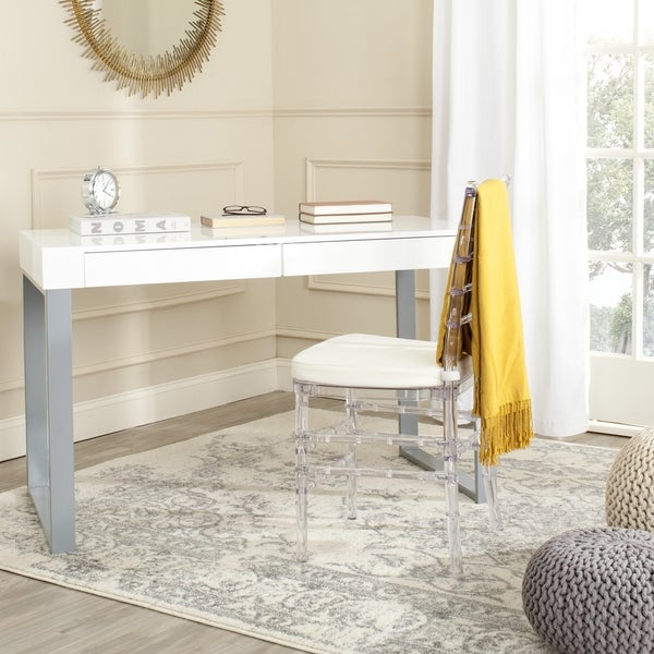 Clay Alder Home Coldwater Mdf Wood/ Iron White And Grey Desk by Safavieh